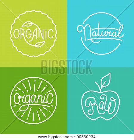 Vector Labels In Trendy Mono Line Style - Premium Quality Organic And Natural Badges For Fresh Farm