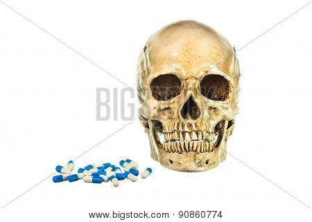 Human Skull With Pill On White Background
