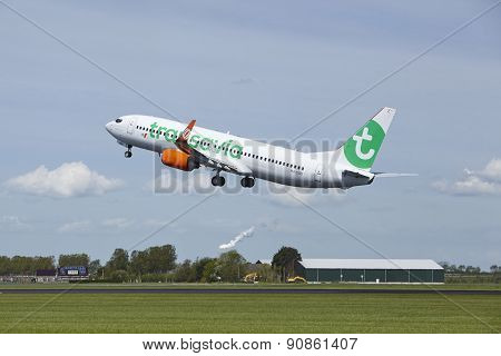 Amsterdam Airport Schiphol - Boeing 737 Of Transavia Takes Off