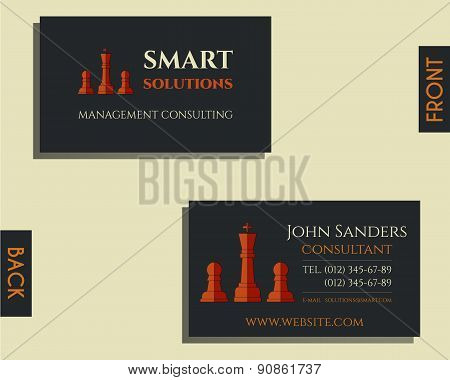 Business and management consulting visiting card template. Chess Smart solutions design with company