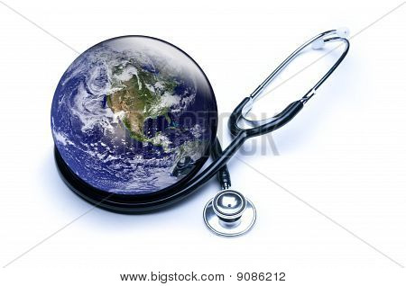Shiny Earth And Stethoscope