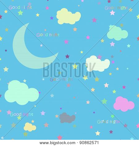 Vector Night Scene With Moon And Stars. Seamless Pattern