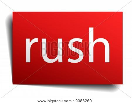Rush Red Paper Sign Isolated On White