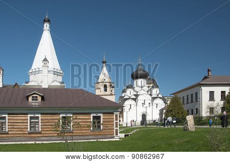 Staritsky Holy Dormition Monastery, Russia, Tver Region: Sauna, Church Shop And The Church Of The Pr
