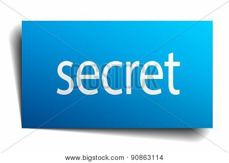 Secret Blue Square Isolated Paper Sign On White