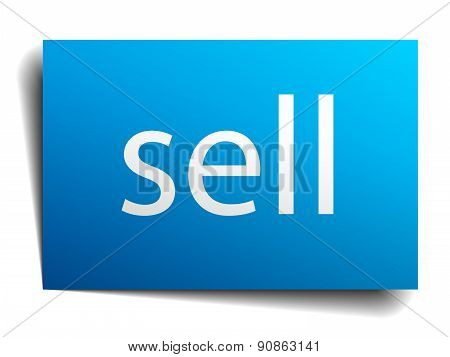 Sell Blue Paper Sign On White Background