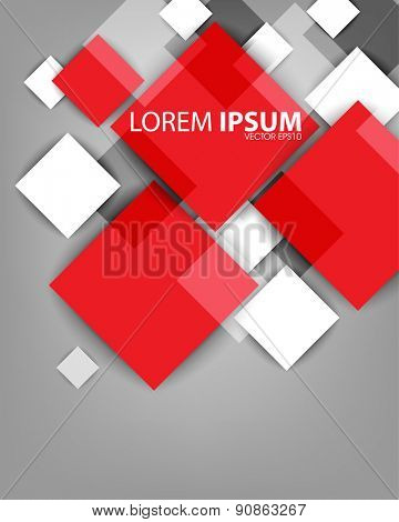 overlapping red and white geometric square shape elements business background eps10 vector