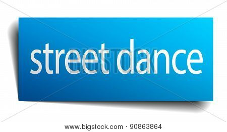 Street Dance Blue Paper Sign Isolated On White