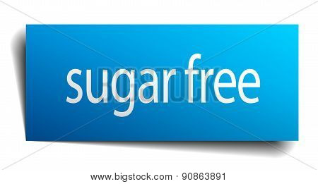 Sugar Free Blue Paper Sign On White Background