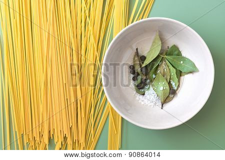 Pasta and spices in a bowl
