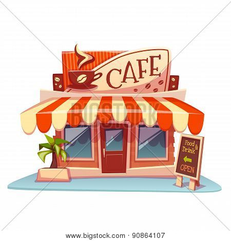 Vector illustration of cafe building with bright banner