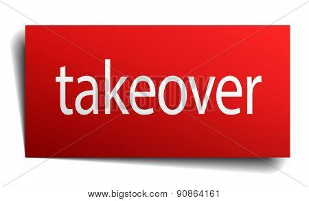 Takeover Red Paper Sign On White Background