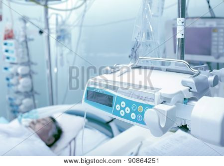 Icu Ward With Patient Unconscious