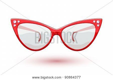 Cat eye red glasses illustration.