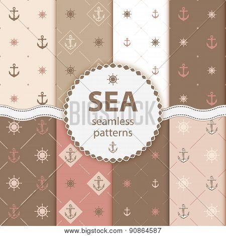Seamless Patterns Vector Aqua Background Set Wallpaper