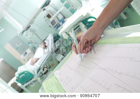 Clock Surveillance Of Patients In Intensive Care Concept