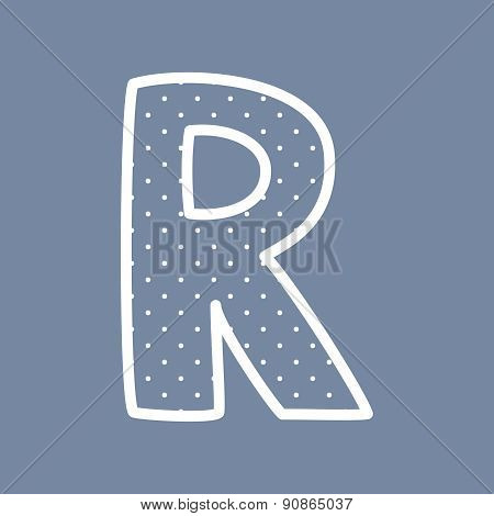 R vector letter withwhite polka dots on blue background