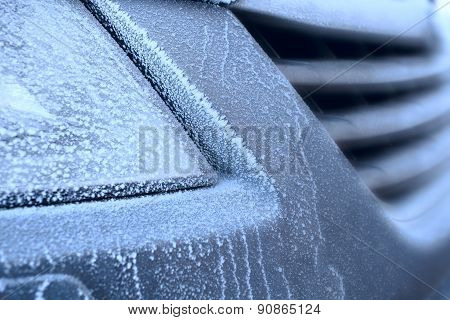 Fragment Car In Frost As Concept Of Winter Cold