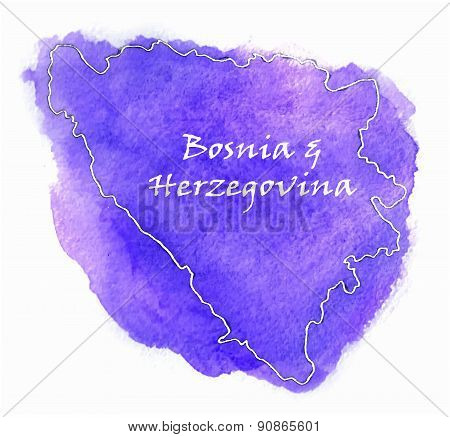Bosnia  Herzegovina Vector Map Illustration