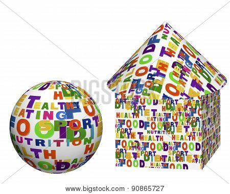 Conceptual Image Of A Tag Cloud, Expressed As Geometric Shapes