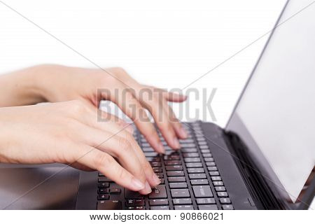 Closeup Of Women's Hands Touching Type Notebook (laptop) Keys During Work Business Isolated On White