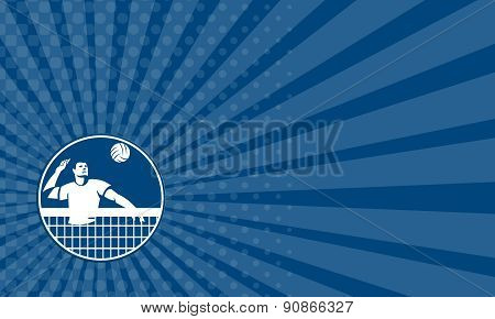 Business Card Volleyball Player Spiking Ball Circle Icon