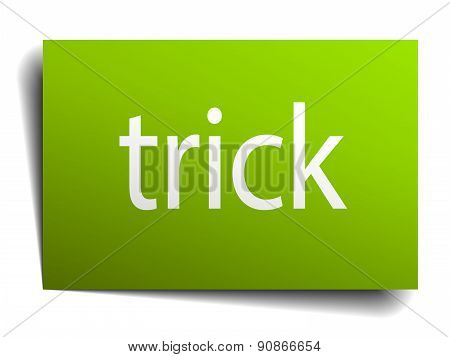 Trick Square Paper Sign Isolated On White