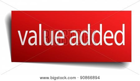 Value Added Red Paper Sign On White Background