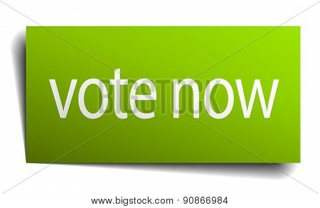 Vote Now Square Paper Sign Isolated On White