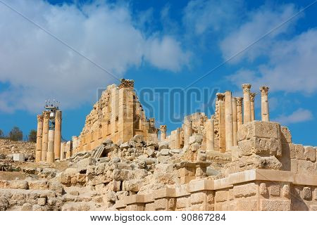 Ancient Jerash Jordan View Of Zeus Temple