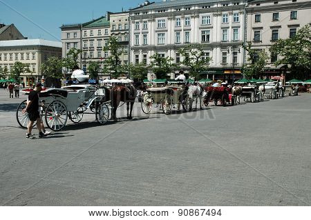 Horse Driven Carriage In Krakow, Poland