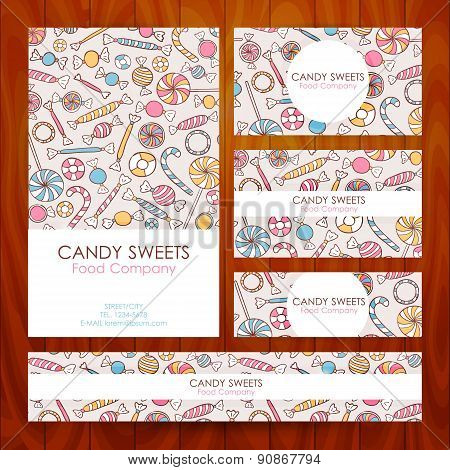 Vector Candy Food Company Business Set Template With Hand Drawn Sweets