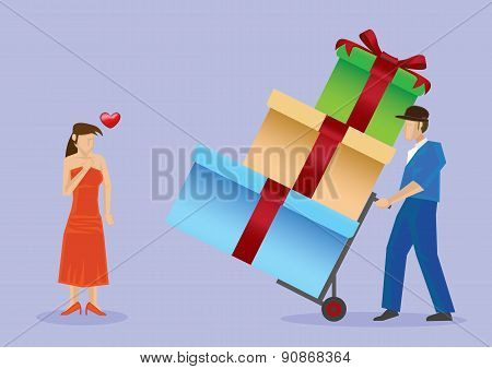 Deliver Gifts To Pretty Lady Vector Cartoon Illustration