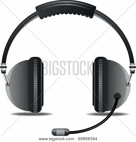 Headphone with microphone - Illustration