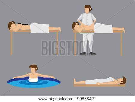 Woman Enjoying Spa Vector Illustration