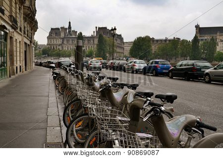 Bicycle Parking In The Streets Of Europe.