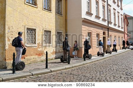Segways On The Streets Of Prague.