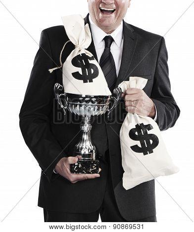 businessman celebrating profits