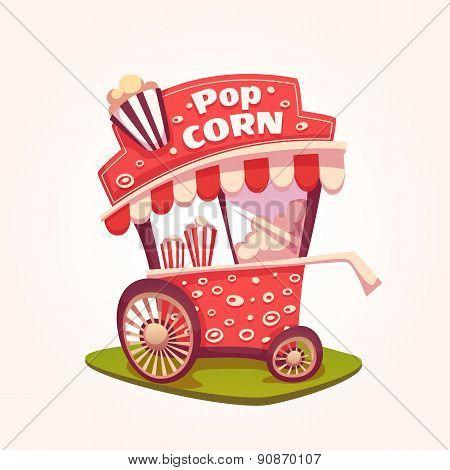 Vector flat illustration of Pop Corn cart
