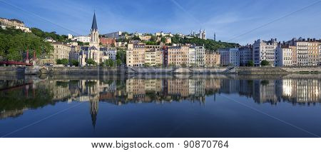 Panoramic View Of Saone River In Lyon