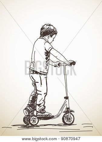 Sketch of Child with kick scooter, Hand drawn illustration