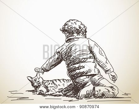 Sketch of child playing with cat, Hand drawn illustration