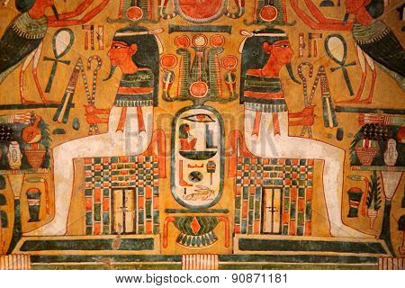 Eygyptian wooden coffin painting