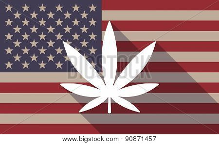Usa Flag Icon With A Marijuana Leaf
