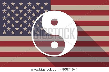 Usa Flag Icon With A Ying Yang