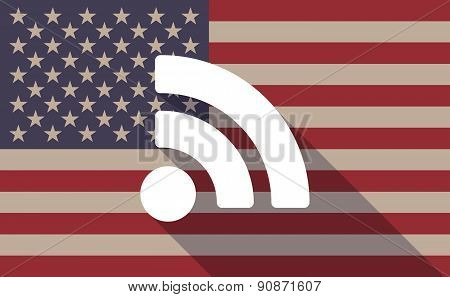 Usa Flag Icon With A Rss Sign
