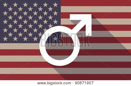 Usa Flag Icon With A Male Sign
