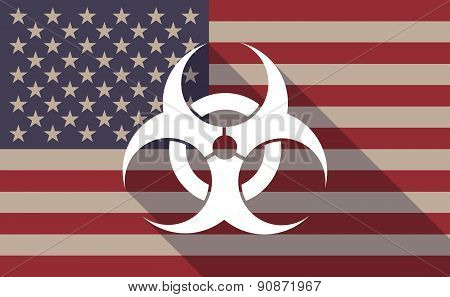 Usa Flag Icon With A Biohazard Sign