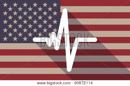 Usa Flag Icon With A Heart Beat Sign