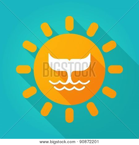 Long Shadow Sun Icon With A Whale Tail